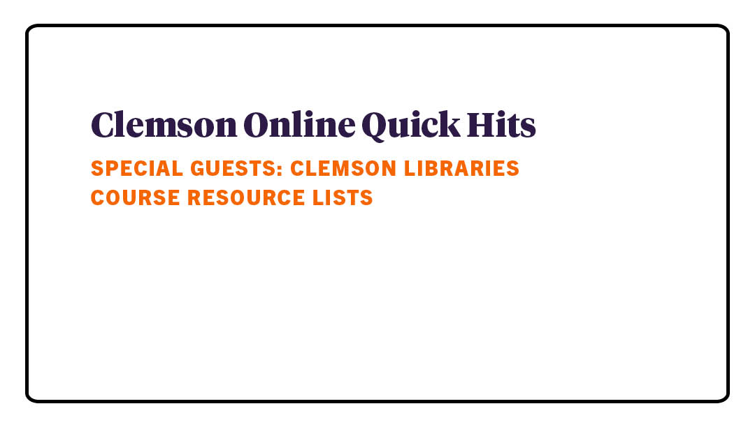 Quick Hits with Clemson Online : 07/15/2021